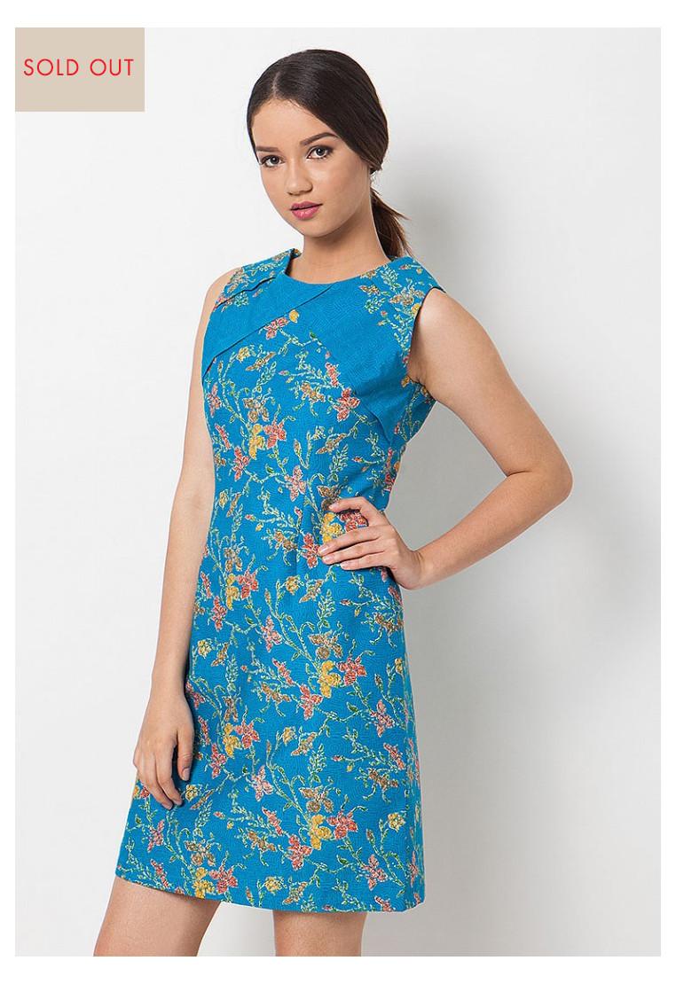 Flower Batik Blue Sleveless Dress